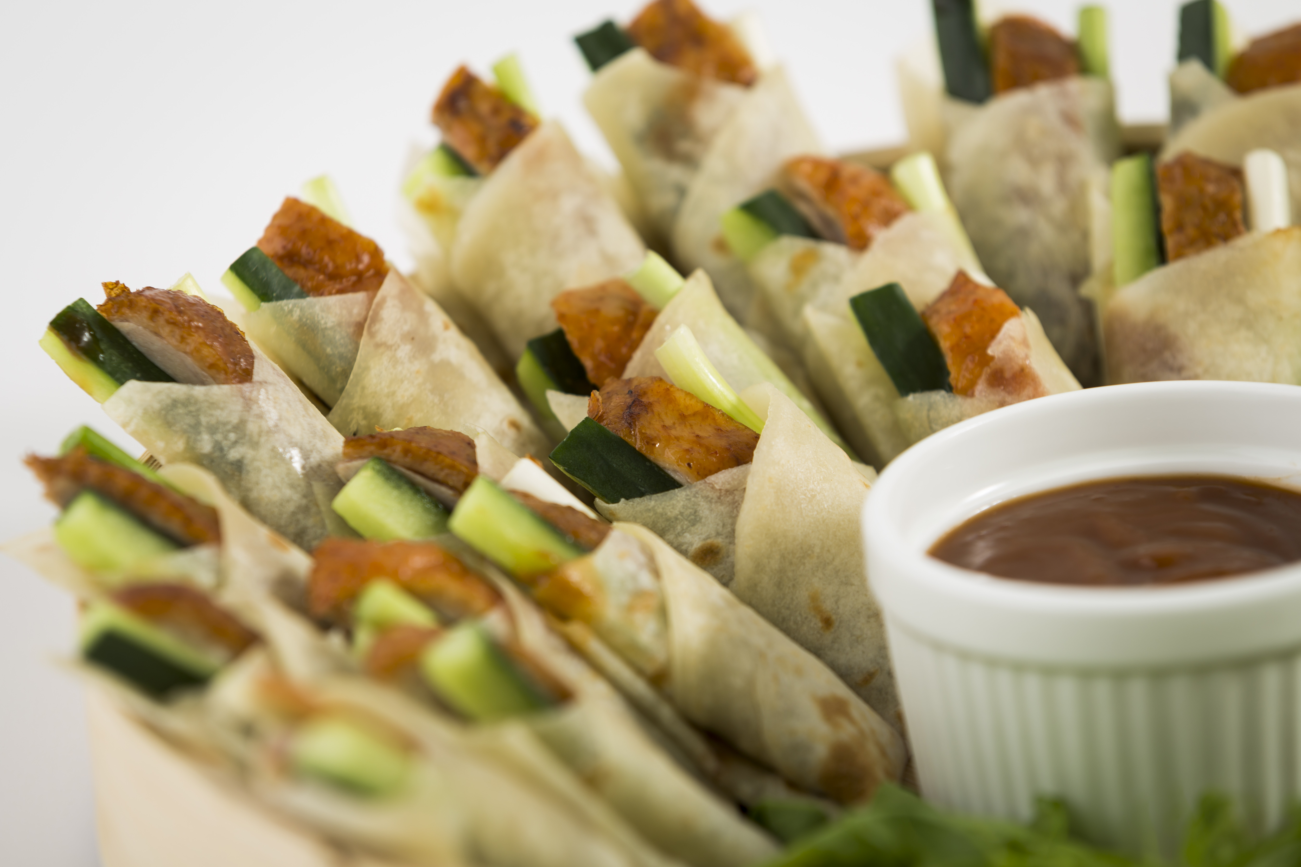 Peking duck crepes for Cold canape menu